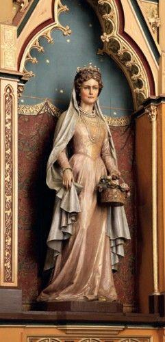 Dominik Demetz: Árpádházi Szent Erzsébet, 19-20. század fordulója gipsz, 163 cm | Mária mennybemenetele plébániatemplom oltára, Gölnicbánya, (Szepesség)