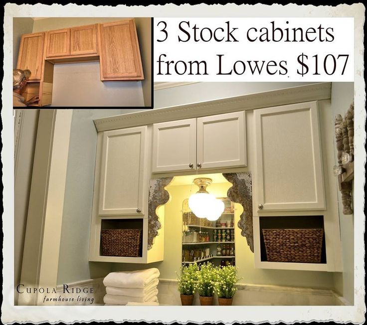 Money saving cabinetry tip: We purchased 3 stock cabinets from Lowes for a total of $107 and made them look much more expensive. After installing the cabinets, hubby constructed 2 wood boxes and attached them to the bottom of the cabinets. Next he added a piece of remnant crown mold to the top and then we painted. Afterwards, we added a distressed pair of vintage corbels and a 1930s light fixture.
