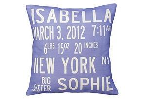 Personalized Announcement Pillow, Purple