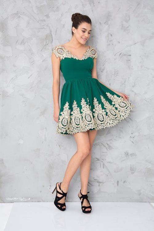 Yeşil Dantelli Mini Abiye Elbise - Fotoğraf