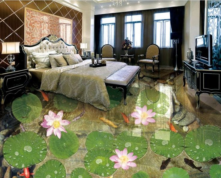29.01$  Watch here - http://aliy5z.shopchina.info/1/go.php?t=32742453881 - pvc flooring adhesive custom 3d floor photo wallpaper Shitang Lotus Koi 3d mural pvc floor wallpapers for living room 29.01$ #buymethat