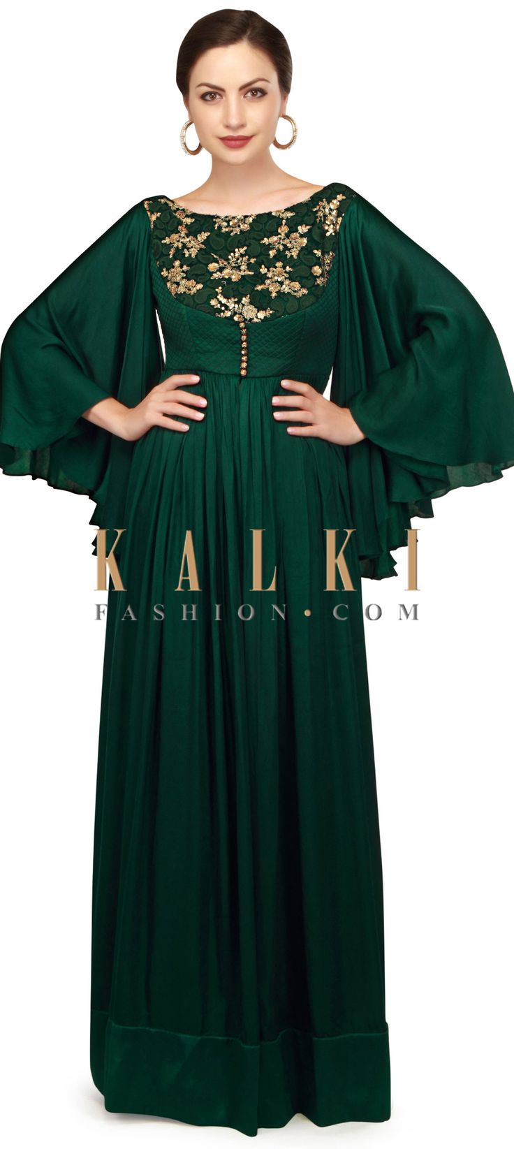 Teal green anarkali suit with bell sleeve and front slit only on Kalki