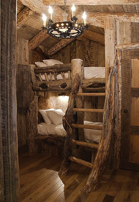 I just love the log cabin, country styled rooms/homes!: Ideas, Rustic Bunk Beds, Dreams, Trees Houses, Treehouse, Bedrooms, Logs Cabins, Cabins Bunk Beds, Kids Rooms