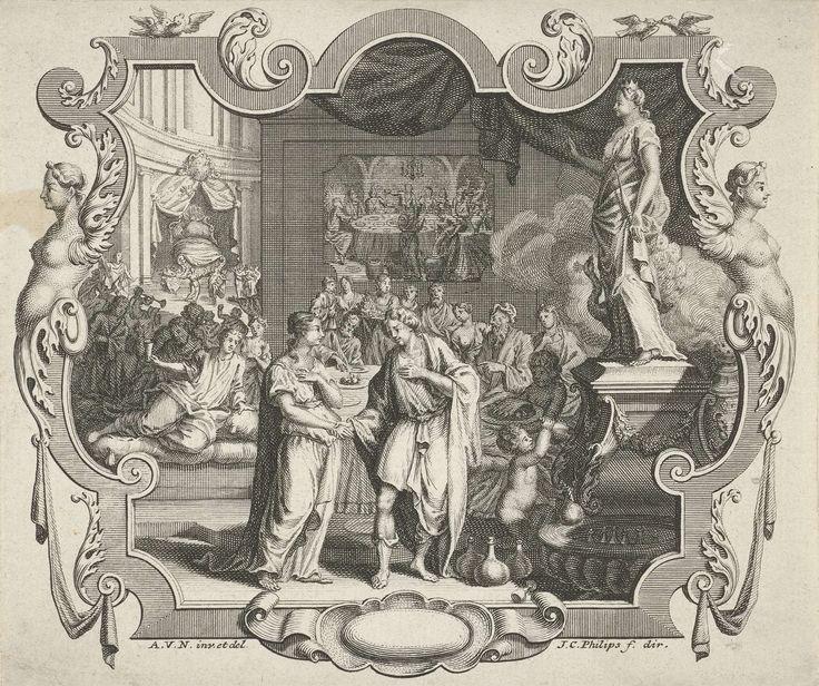 Jan Caspar Philips | Cartouche met allegorie op een huwelijk, Jan Caspar Philips, 1736 - 1775 | Een huwelijksfeest met banket. Op de voorgrond het bruidspaar dat elkaar de hand reikt. Achter de tafel een schilderij met de bruiloft te Kana. Rechts een standbeeld van Juno, de godin van het huwelijk. Links op de achtergrond het huwelijksbed.