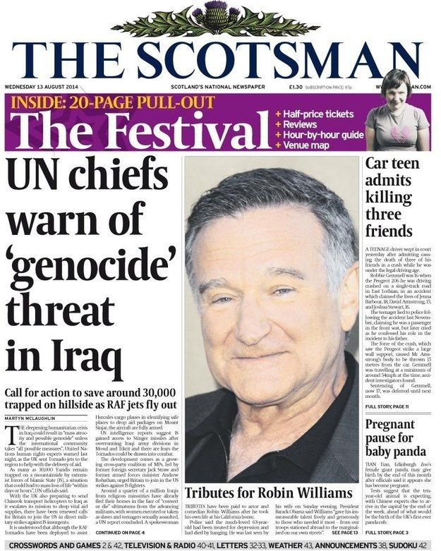 "The Scotsman: ""Tributes for Robin Williams"" 