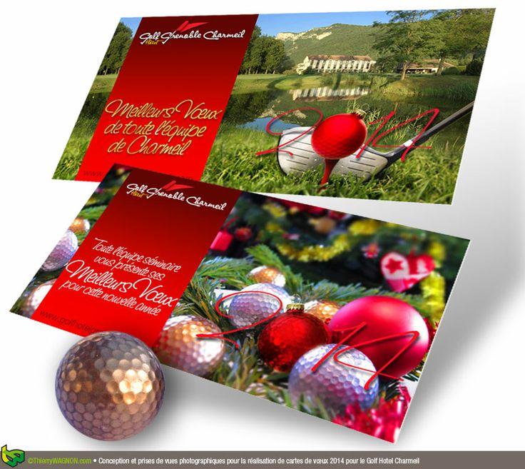 Conception graphique et prises de vues photographiques pour la réalisation de cartes de vœux 2014 pour le Golf Hotel Charmeil