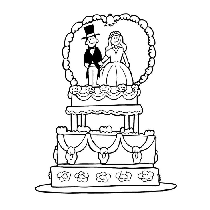 Coloriage Gâteau Mariage a Imprimer Gratuit