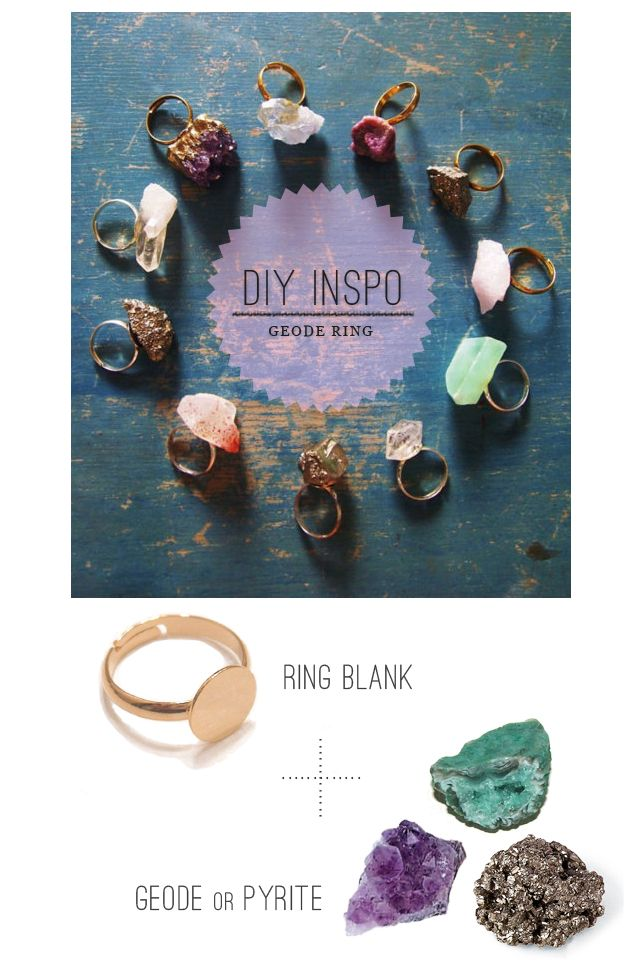 #DIY Geode RingRings Tutorials, Geode Jewelry Diy, Gift Ideas, Geode Rings, Diy Geode, Rings Diy, Diy Jewelry Rings, Diy Rings, Rocks Rings