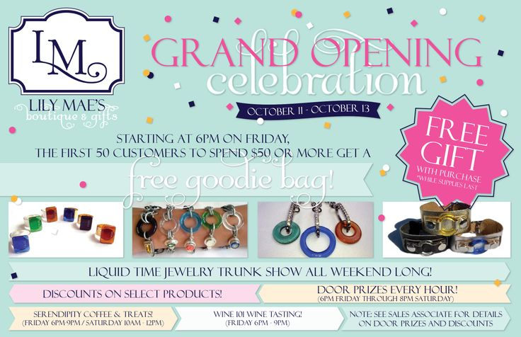 Grand opening flyer and poster design for lily mae39s boutique and gifts wake forest nc for Grand opening flyer ideas