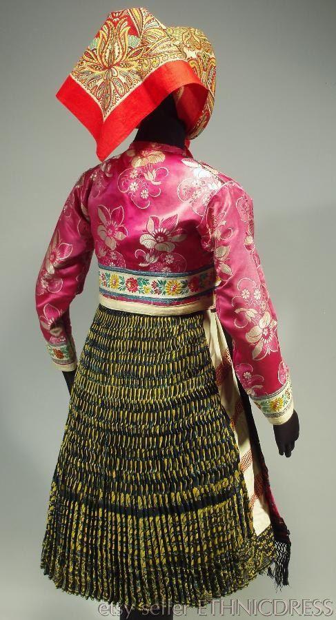 Woman's folk costume from Vazec Slovakia heavy pleated