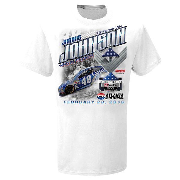 Jimmie Johnson 2016 Folds of Honor Quicktrip 500 Race Winner T-Shirt - White - $18.99