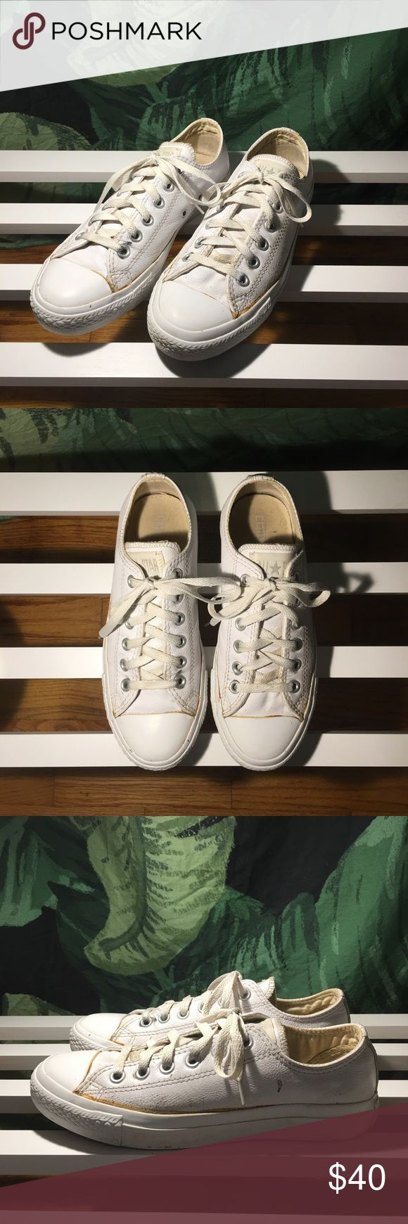 Converse Chuck Taylor - Leather All white full leather tennis shoes, custom made // fairly worn Converse Shoes Sneakers