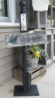 Doorknob, Wood sign and wreath stand