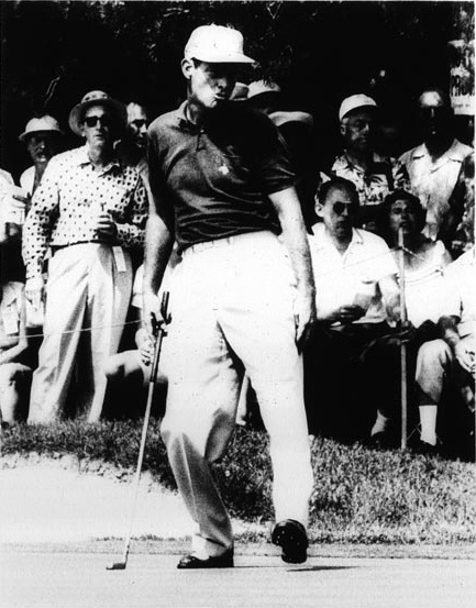 Photographer/Creator  Arthur B. Rickerby  Collection  1956  Publisher  United Press  Caption/Description  Carey Middlecoff grimaces as he misses a putt on the 6th green in the National Open Golf Tournament at the Oak Hill Country Club here.
