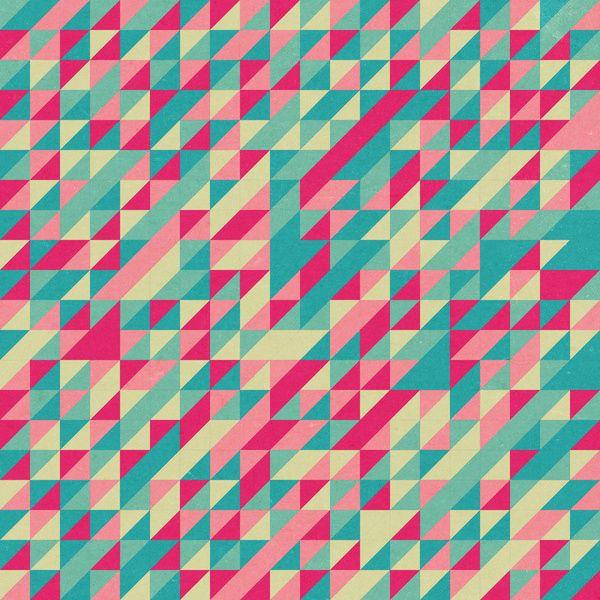 Retro pattern by aldarwish geometric pink green spring
