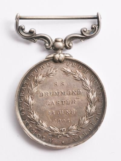SS Drummond Castle medal, struck 1896, 33 x 55mm, 36g, collected in Brest.  This medal was struck in England and offered to the fishermen and others who helped in the recovery of survivors and bodies from the SS Drummond Castle which sank off the French coast in 1896