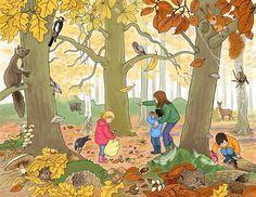 Mooie praatplaat om te gebruiken in een eerste graad. De leerlingen zien wat de kenmerken zijn van de herfst, specifieke kleuren voor de herfst, welke vruchten de bomen laten vallen, welke dieren er in het bos leven, ...