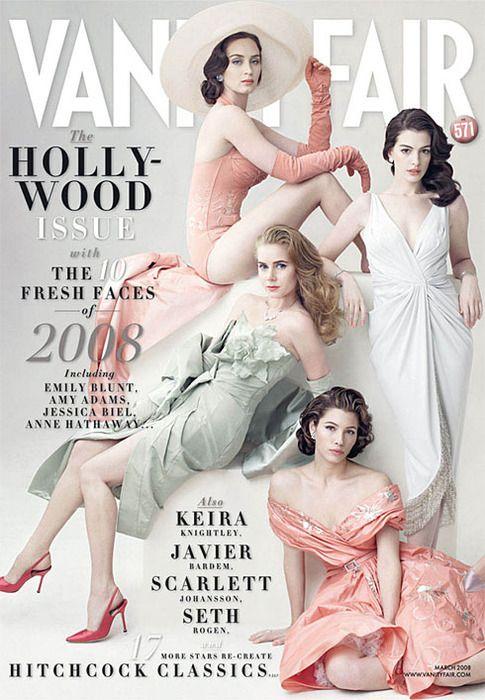 Vanity Fair, Hollywood Issue - Emily Blunt, Anne Hathaway, Amy Adams, Jessica Biel, March 2008 by Annie Leibovitz