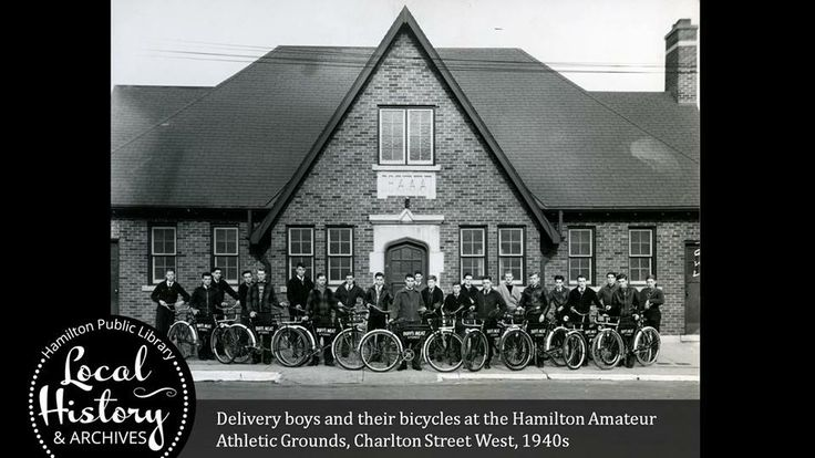 Delivery boys and their bicycles on Charlton Ave West. 1940s at the Hamilton Amateur Athletics Grounds. Hamilton Library Archives.