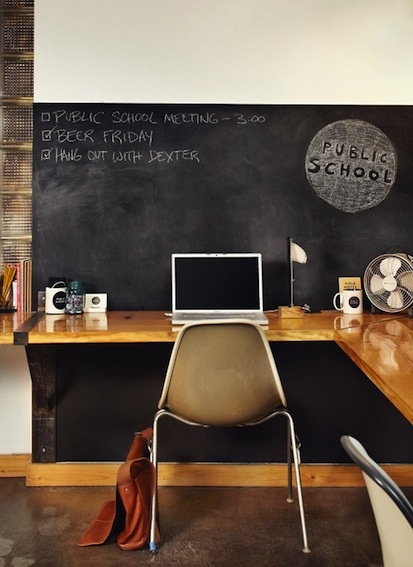 office space...love the corner desk with chalkboard wall.