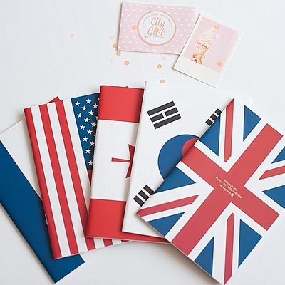Cute Korean notebooks for sale in my online stationery store. These plain, lined notebooks have different flags on the cover. These make the perfect gift!