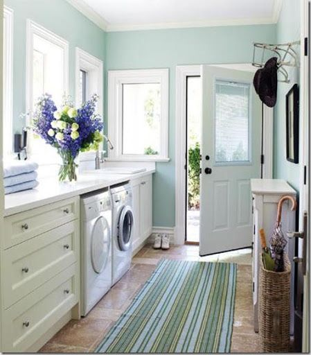 """Sherwin Williams """"Rainwashed"""". Love this color!! Maybe for the laundry room or one of the extra bedrooms?"""
