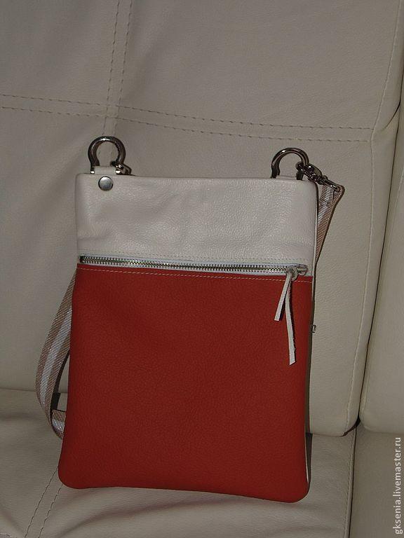 Купить Сумка из натуральной кожи на лето - сумка, унисекс, для девушки, для парня, для документов, в машину, чехол