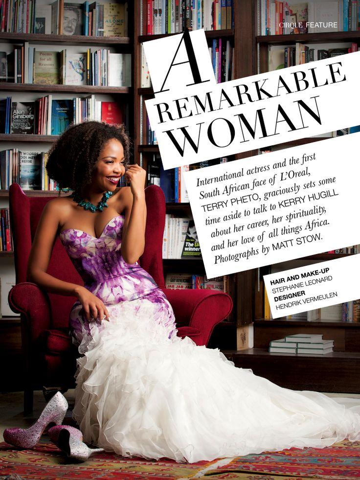 Terry Pheto featured in Cirque Magazine - Traditions Issue April '14 - wearing Simply Vermeulen