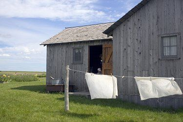 A replica of the homestead built by Charles Ingalls near DeSmet, SD, is  located on the original Ingalls homestead.