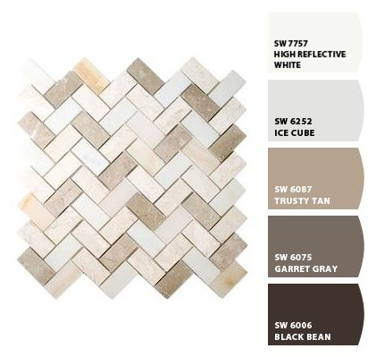 Paint colors from ColorSnap by Sherwin-Williams to match with Lowe's Allen + Roth mosaic tile
