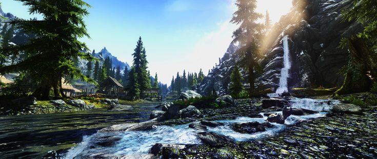 Video Game The Elder Scrolls V: Skyrim  Mountain Pine Tree Skyrim Water River Waterfall Wallpaper