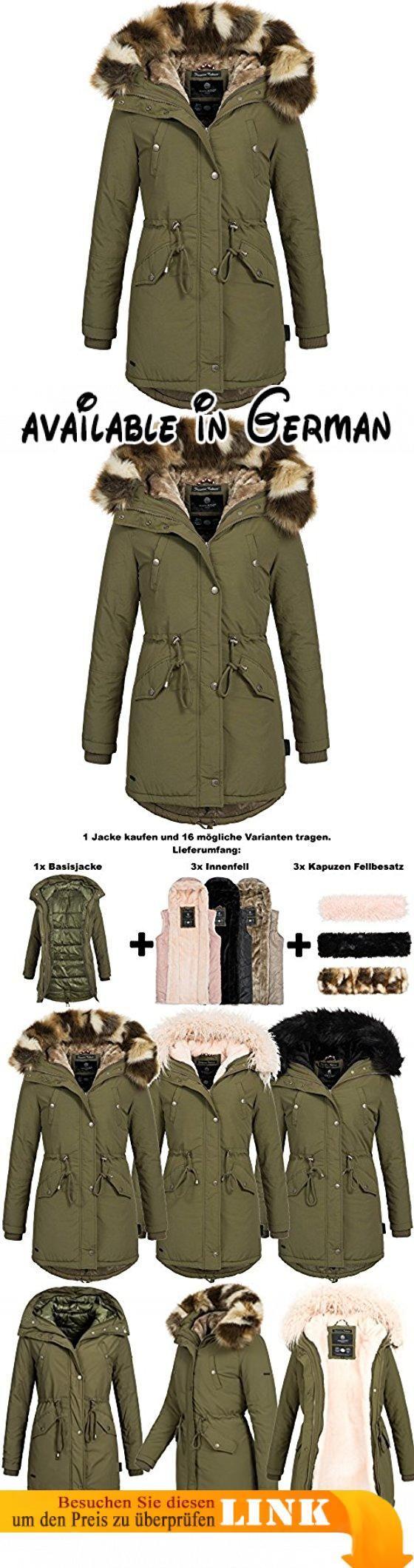 Marikoo TIRAMISU 16in1 Damen Jacke Parka XXL Fell Winterjacke Mantel 3-Farben WoW inklusiv Lieferumfang: 3x Innen- und Außenfell XS-XXXXXL, Größe:M - 38;Farbe:Grün. Mit dem Kauf von diesem Parka können Sie Ihrer Fantasie freien Lauf lassen. Sie haben 16 mögliche Trage Varianten. Sie kaufen hier ein Set, bestend aus: 1xBasisjacke + 3x Innenfell(Rosa, Braun, Schwarz) + 3x Kunsfellkragen(Rosa, Camouflage, Schwarz). Der Mantel ist nicht nur optisch ein Highlight sondern