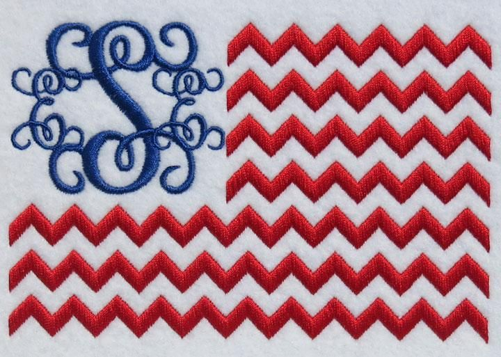 USA Flag Chevron Monogram Frame | Apex Embroidery Designs, Monogram Fonts & Alphabets
