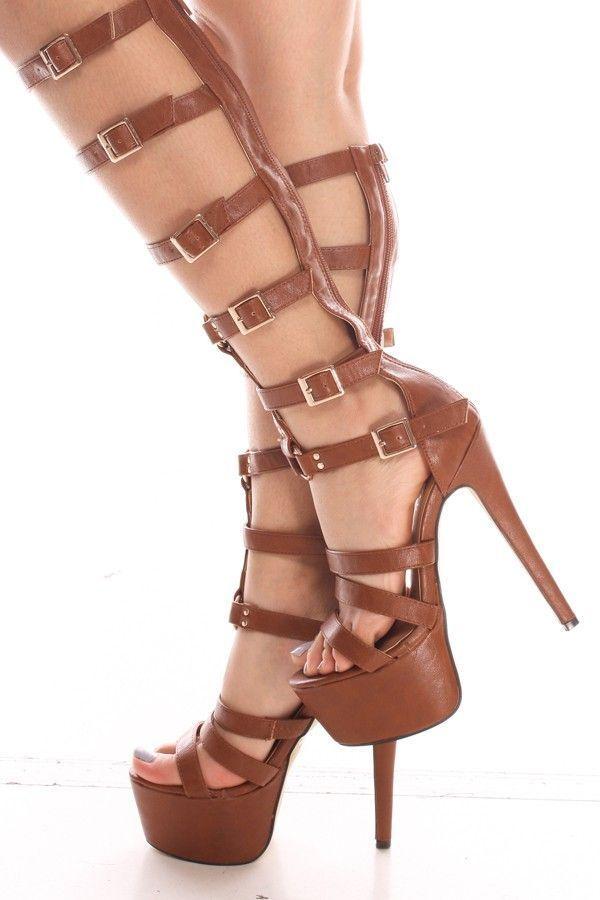 Tan Faux Leather Gladiator 6 inch Platform Heels,Women's Heels-Sexy Heels,High Heels Pumps,6 Inch Heels,High Heels Shoes,Heels and Pumps,Platform Heels,Stiletto Heel,Fashion Heels,Prom Heels,6 Inch High Heels,Party Heels At LolliCouture #highheelsplatform