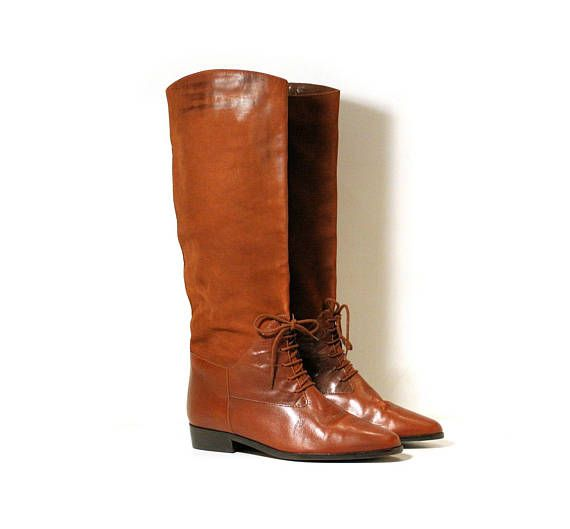 80s Riding Boots size 10, Seychelles Boots, Brown Leather Boots, Brown Suede Boots, Vintage Tall Boots, Lace Up Equestrian Knee High Boots