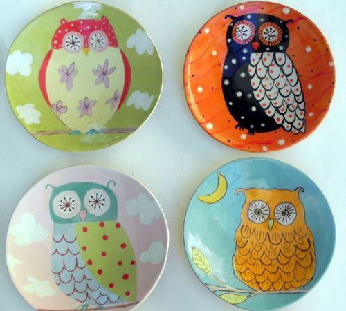 Cute owl plates