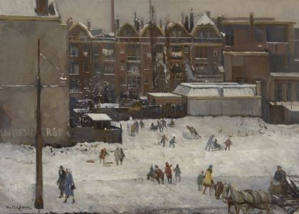 Hendrik Pieter 'Piet' Groen (1886-1964) Winter fun in Rotterdam, oil on canvas 50,4 x 70,5 cm., signed l.l. Collection Simonis & Buunk, The Netherlands