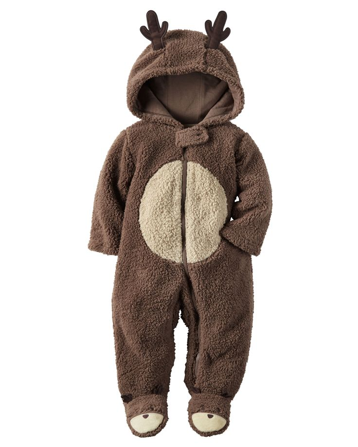 Baby's first Christmas is complete with a super soft reindeer suit crafted in fuzzy sherpa with adorable antlers at the warm hood.