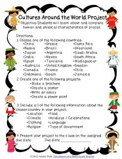 Culture Around the World Project-Free Info Sheets, Research Paper and Rubric