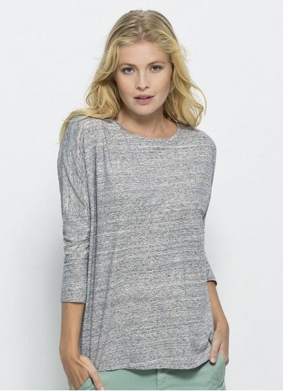 Sabine will keep you comfortable and warm...not to mention, looking amazing! With fitted 3/4 length sleeves and a loose body fit, this Slub Heather Grey top is #fairtrade and 100% #organiccotton. Made in Bangladesh and Pakistan.