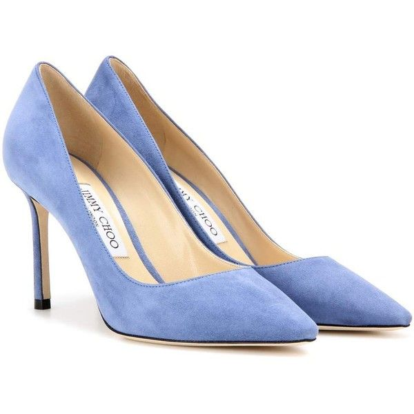 Jimmy Choo Romy 85 Suede Pumps (8.290 ARS) ❤ liked on Polyvore featuring shoes, pumps, blue, suede pumps, jimmy choo, blue suede pumps, suede leather shoes and jimmy choo shoes
