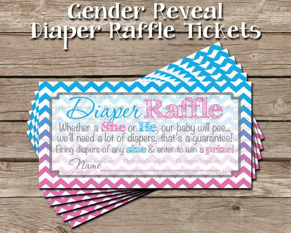 This custom gender reveal diaper raffle ticket print is perfect for a mother-to-be to send out with her invitations.    This listing is for