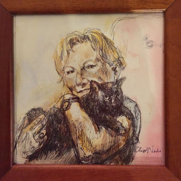 Mom and Amelia - Chiara Nardo - black pen drawing and watercolors
