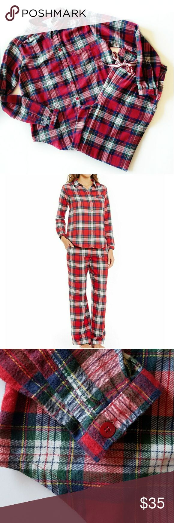 Plaid Portuguese flannel sleep set Sleep sense Portuguese flannel! Super soft and made of 100% cotton. Bright cherry color. Top has one chest pocket. Picture two and three is actual sleep set. I have two size smalls available. If you would like a different size, please ask me availability. These make great christmas morning pajamas! 💥NO TRADES sleep sense Intimates & Sleepwear Pajamas