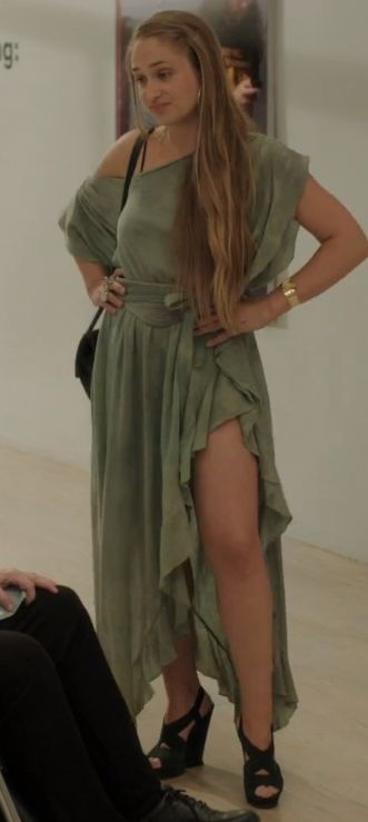 Jessa Johansson (Jemima Kirke) wears this olive green silky vintage style maxi dress on Girls. It is from the Electric Feathers Fall 2012 Collection.