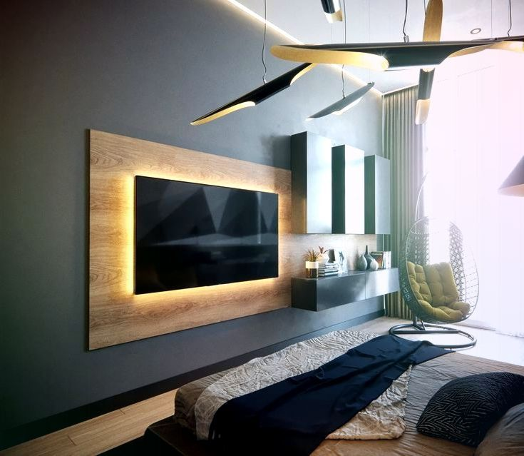 50 Ideas For Decorating The Wall You Hang Your Tv On Auf Dekorier Auf Decorating Dekorier Hang Ide In 2020 Schlafzimmer Tv Tv Wanddekor Modernes Schlafzimmer