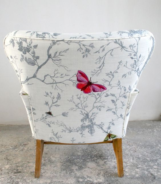 Dressing chair with pretty pink butterfly - just a touch of colour... timorousbeasties.com #bedroom #furniture