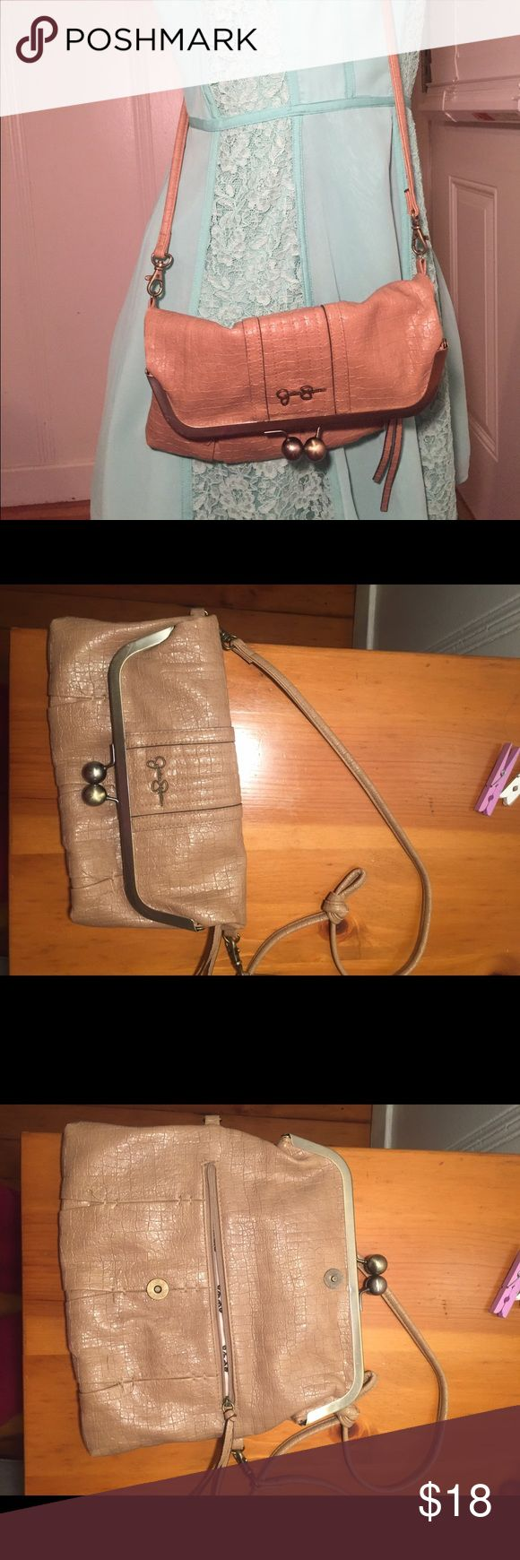 Jessica Simpson side purse Brown Jessica Simpson side purse with faux alligator outside. Great condition Jessica Simpson Bags Crossbody Bags