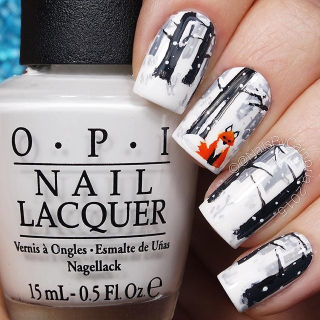 How cute are these? When I saw @la_manisera's winter fox nails I had to try them. Go check her out! She's amazing.  Tag someone who would  these! Tutorial will be up today. ❄️❄️❄️❄️❄️❄️❄️ @opi_products Alpine Snow @twinkled_t #00 Kolinsky nail art brush | 10% off with my code CAMBRIA Black, white, and orange acrylic paint  @sechenails Seche Vite All polishes are from @hbbeautybar | 15% off with code nailsbycambria