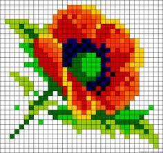 Poppy flower perler bead pattern